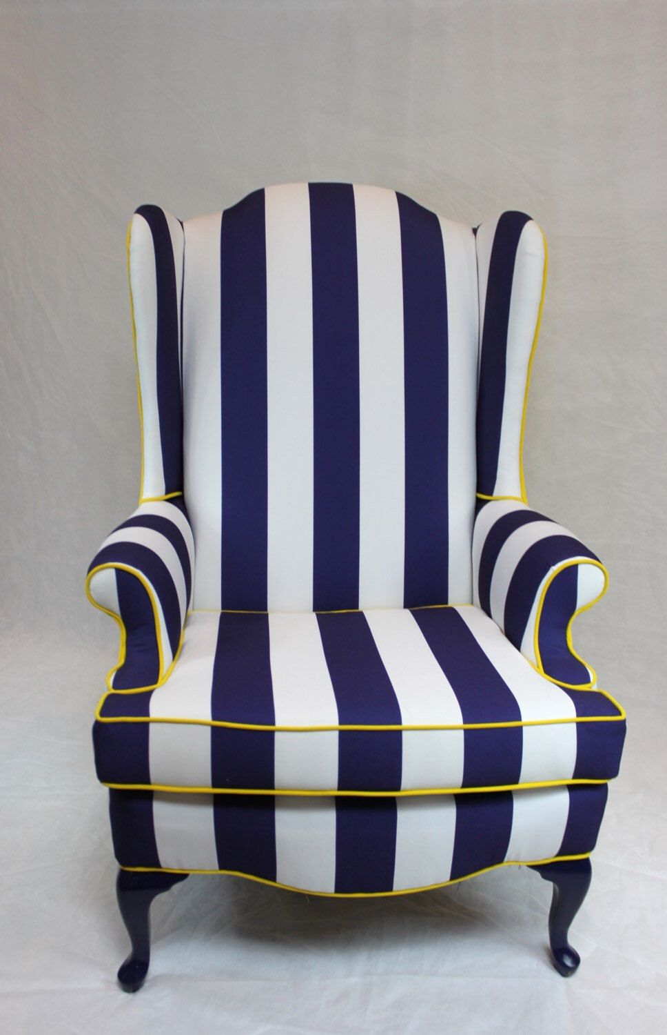 Blue And White Stripe With Yellow Chair Vintage Wing Back Nautical Element 20 Designs Wing Chair Upholstery Chair Custom Upholstery
