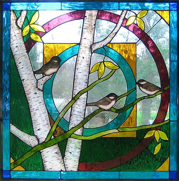 Chickadee mandala stained glass art window panel for Glass painting techniques