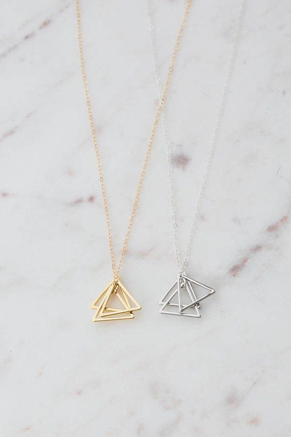 Gold Triangle Stack Necklace 14k Gold Filled Triangle Etsy In 2020 Gold Geometric Pendant Pendant Necklace Simple Geometric Pendant Necklace