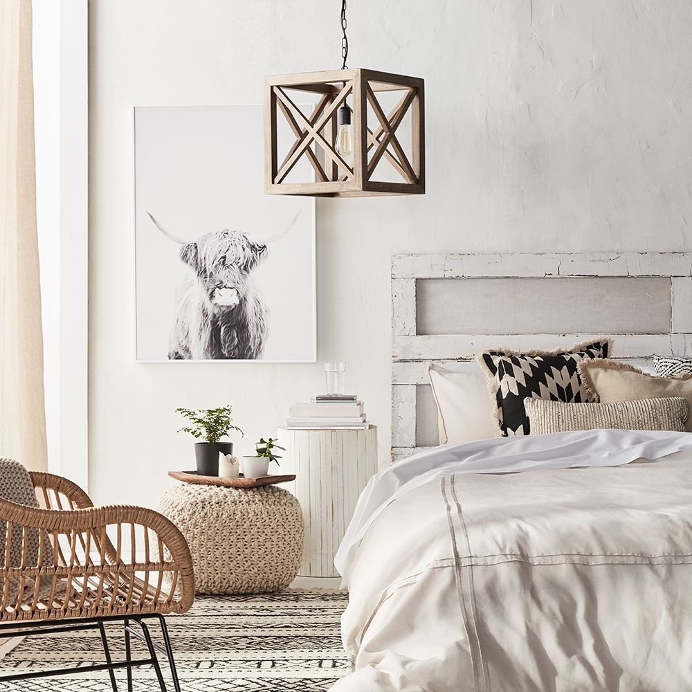 Wooden Cube Pendant Ceiling Lamp | Rustic Charm | Charme ...