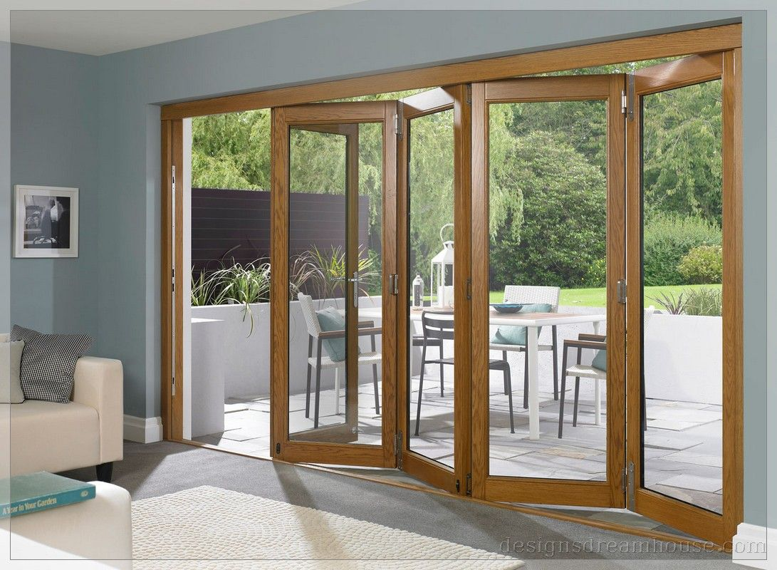 wood frame bifold clear glass lacantina