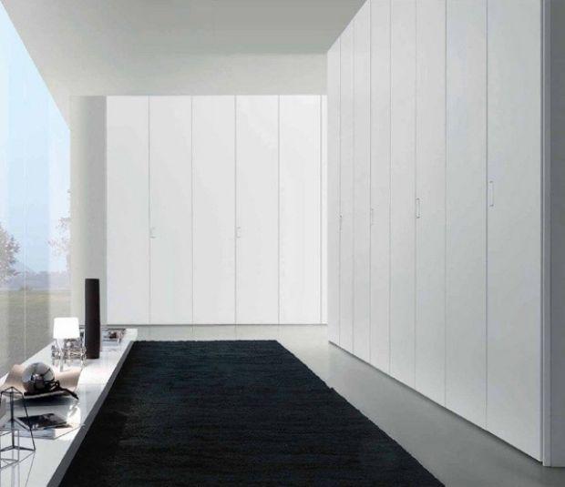 modernes schranksystem-puristischer stil-weiss-deckenhoch schränke - schlafzimmer komplett in weiss einrichten