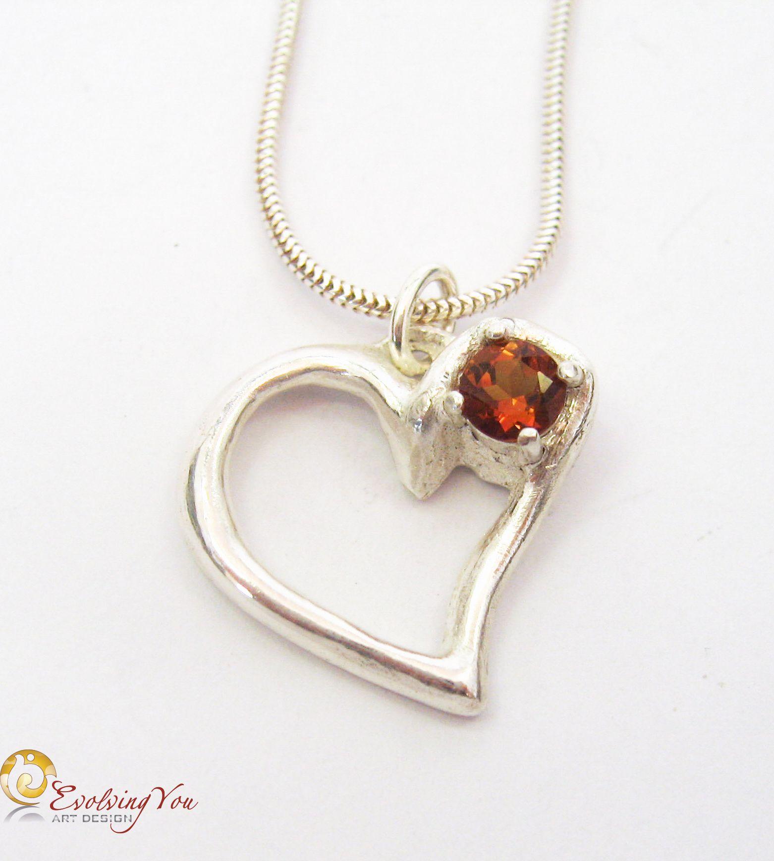 Silver Heart Pendant – Spanish Topaz