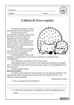 A Fabula Do Porco Espinho Atividades Com Fabulas Portugues