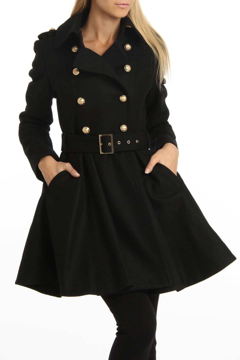 994407775337 M60 by Miss Sixty Double Breasted Belted Coat In Black
