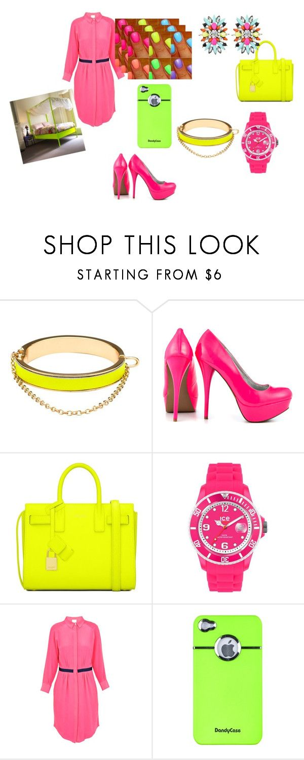 """keep clam and neon on"" by ava111804-1 ❤ liked on Polyvore featuring CC SKYE, Veda Soul, Yves Saint Laurent, Ice, Band of Outsiders, women's clothing, women, female, woman and misses"