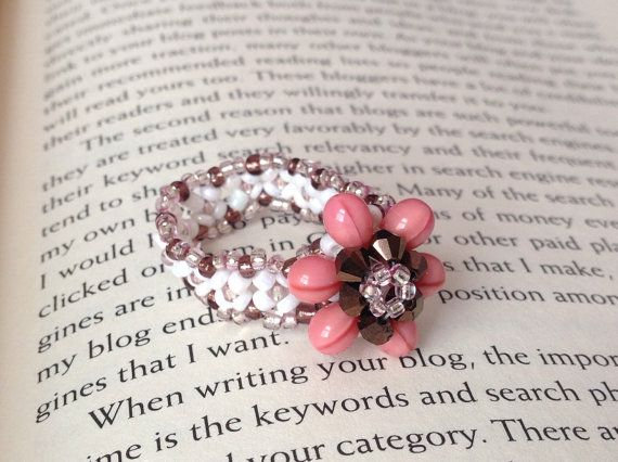Pink Flower Ring Hand Beaded pink and brown by JewelryDefined