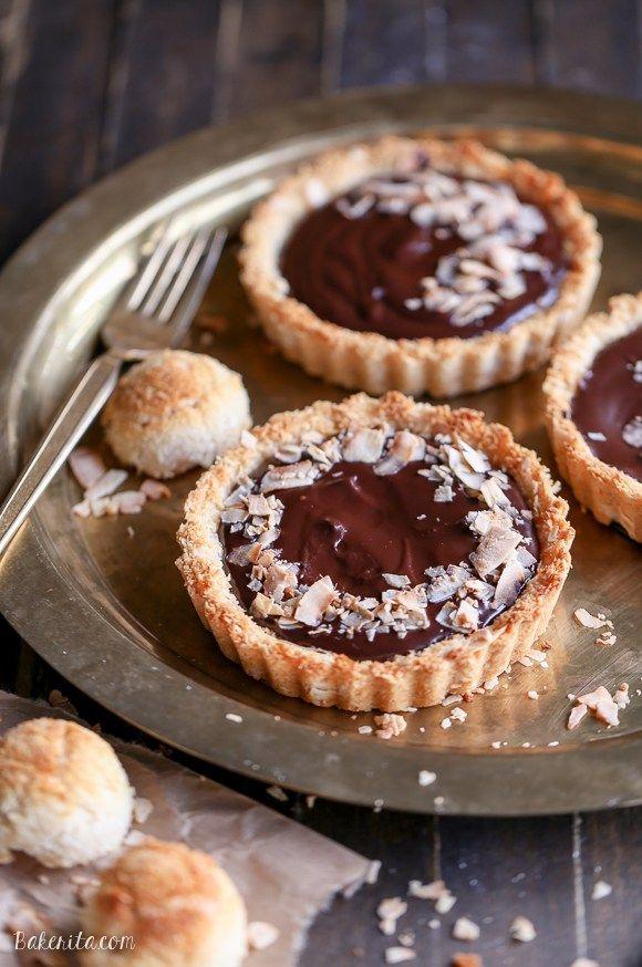 Chocolate Ganache Tarts With Coconut Macaroon Crust Gf Paleo