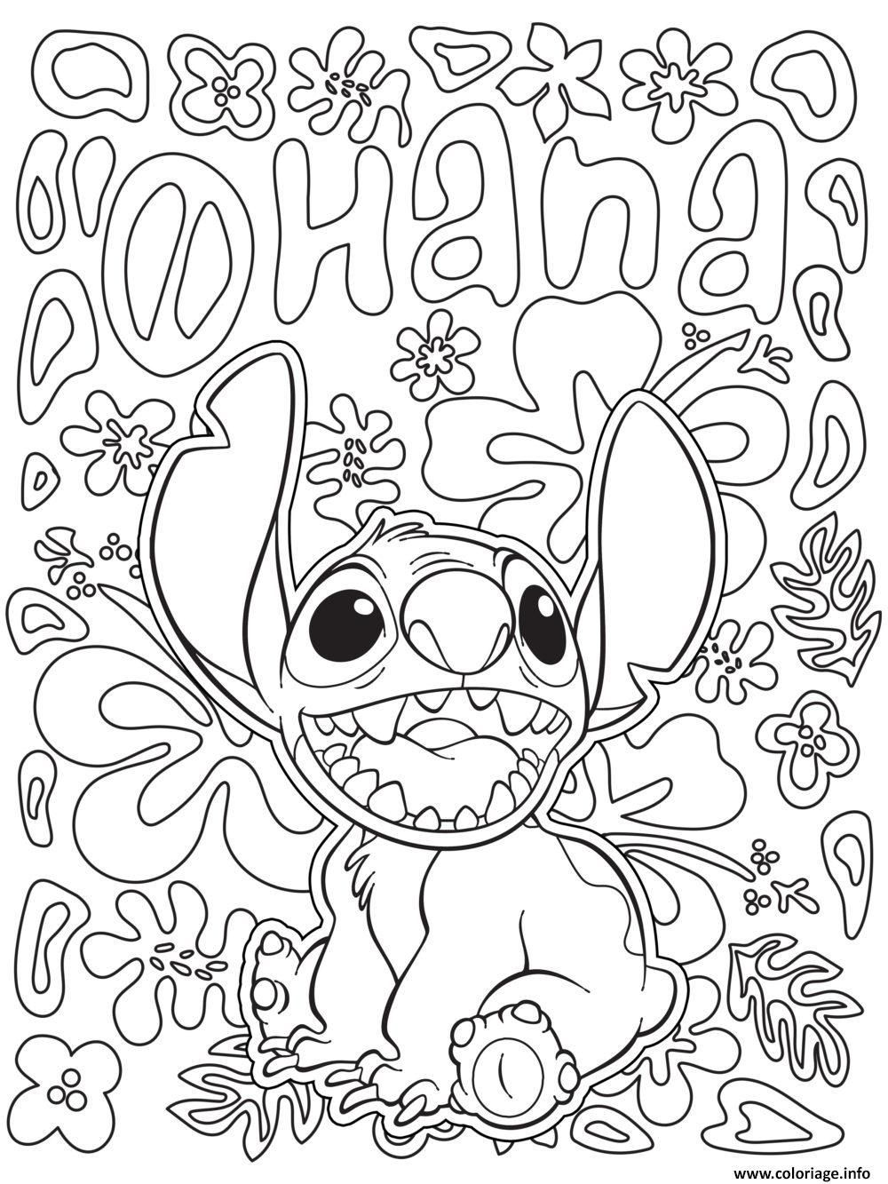 Einfache Disney Mandala Färbung Stitch von Lilo und Stitch Drawing