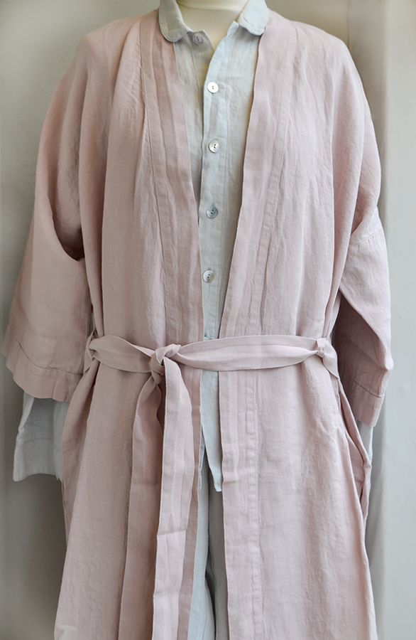 e8a50e26a52 A rose pink robe with dove grey linen pyjamas from Natural bed Company