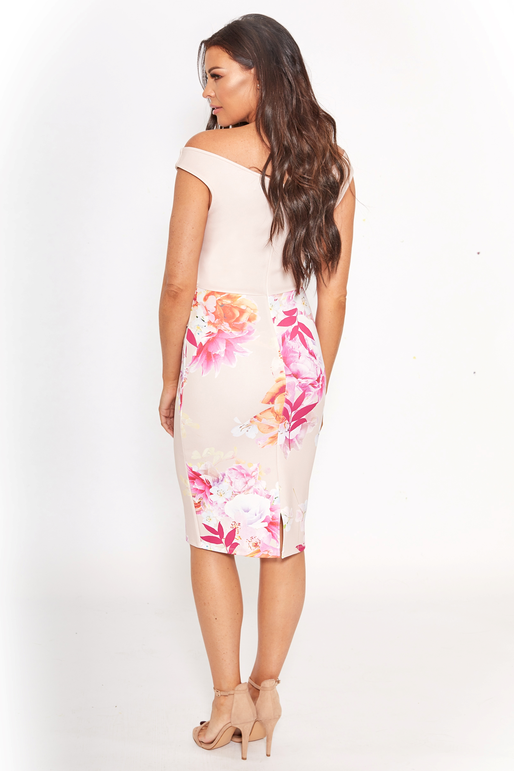 f157ceb8206cb Womens Sistaglam Loves Jessica Floral Bardot Bodycon Midi Dress - Pink