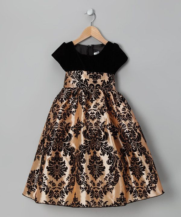 ac85d767ae89 Black and Gold Toddler Dresses | Black & Gold Damask Velvet Dress - Infant,  Toddler & Girls