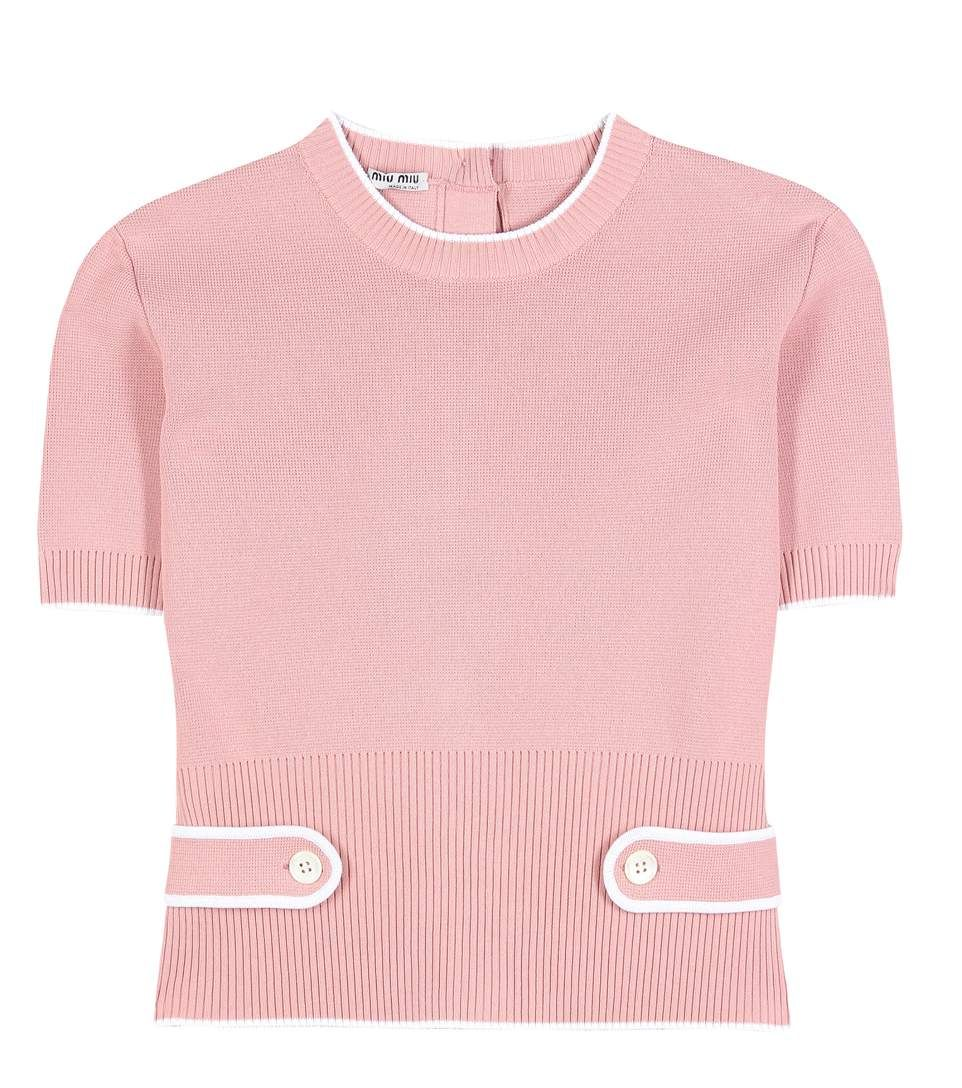 8f04fd3f383 MIU MIU - Knitted top - Miu Miu s girlish aesthetic is at home here with  the designer s pink knitted top. White trim highlights the style s  structure and ...