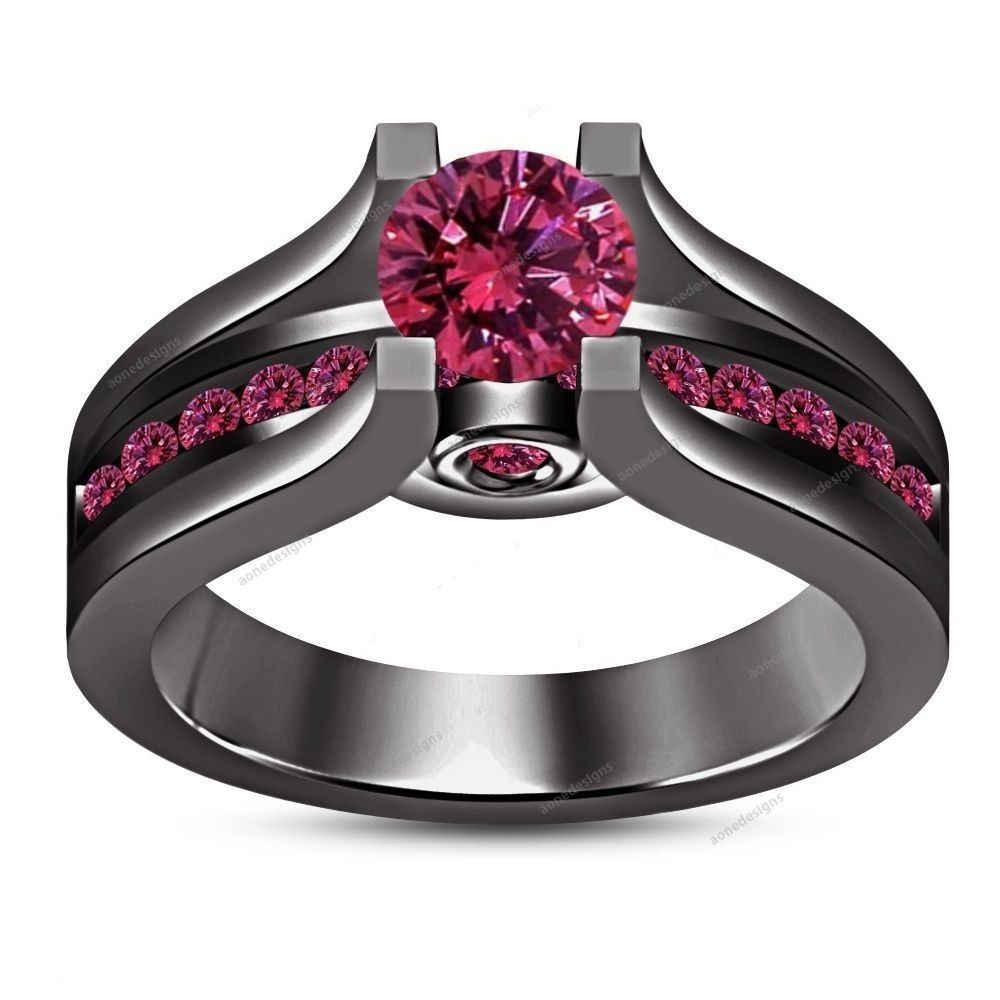 65mm Round Cut 135 Carat Pink Sapphire 14k Black Gold Finish Engagement  Ring…