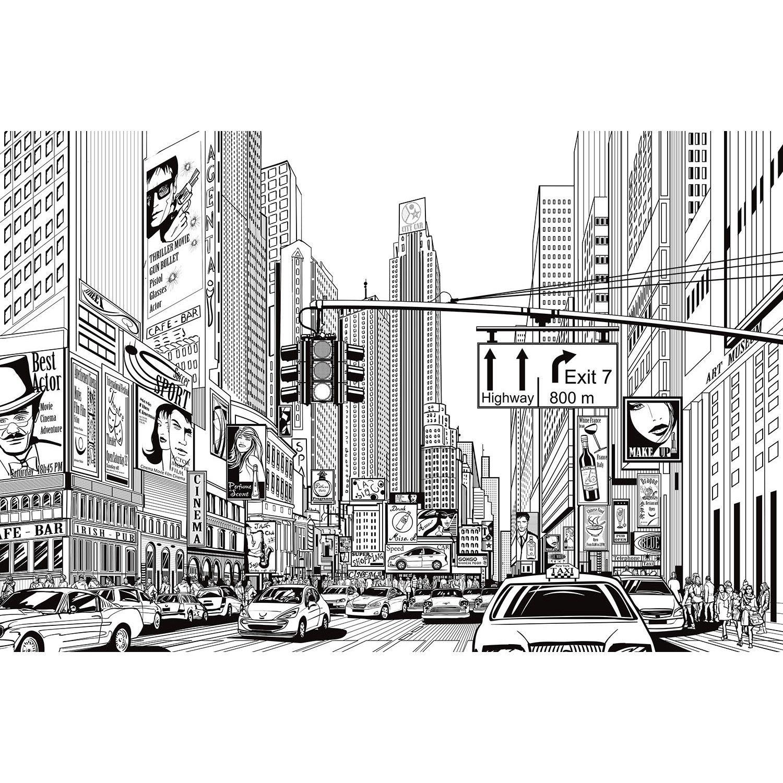 Cartoon City White Black City Cartoon City Wallpaper Black And White Illustration