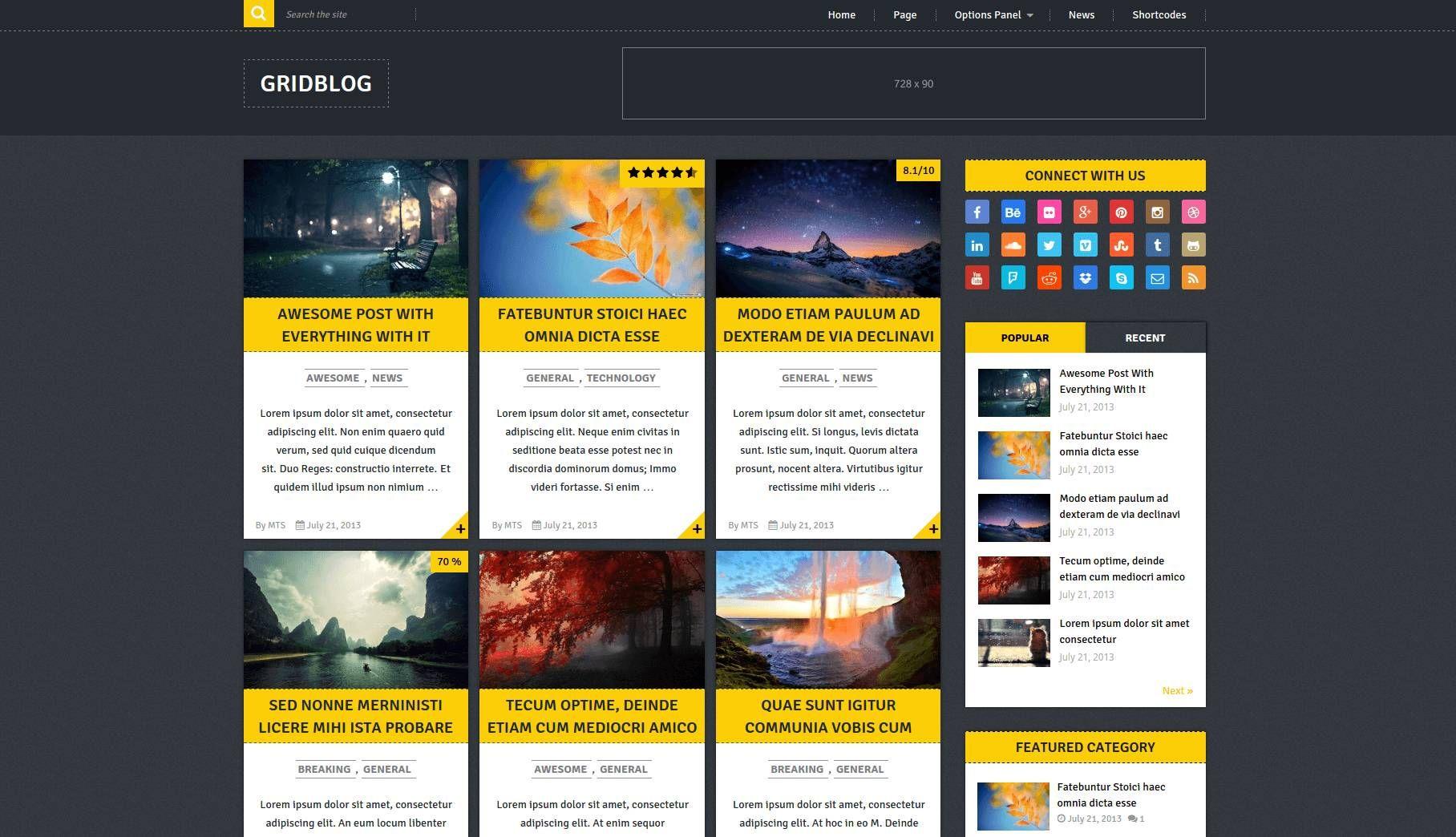 Gridblog Modern Free Wordpress Theme Freebies Pinterest Web