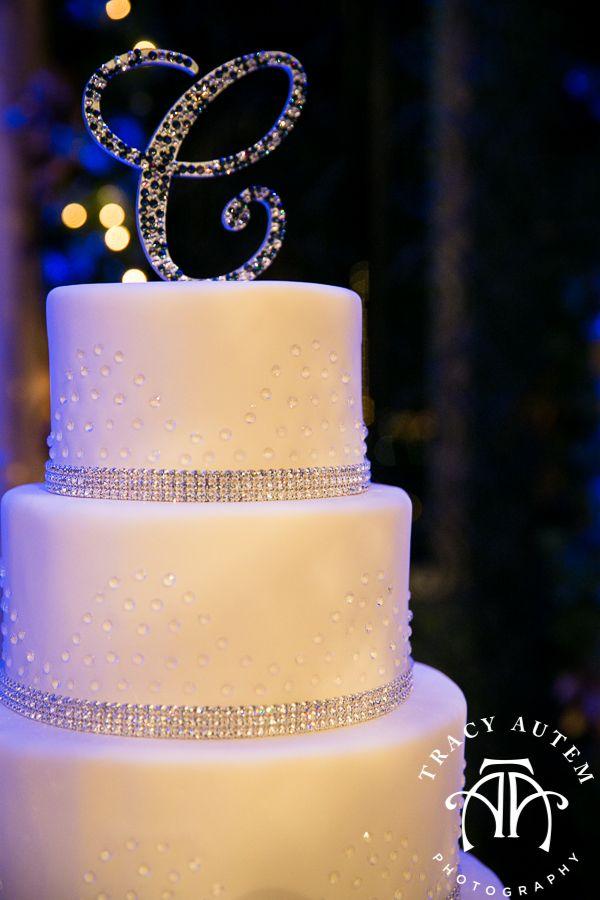 Custom wedding cake by The Fort Worth Club rhinestones, crystal ...