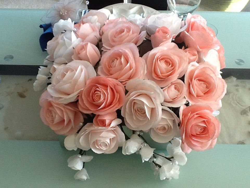Paper Flower Bridal Bouquet Wedding Anniversary by RoyasCreations ...