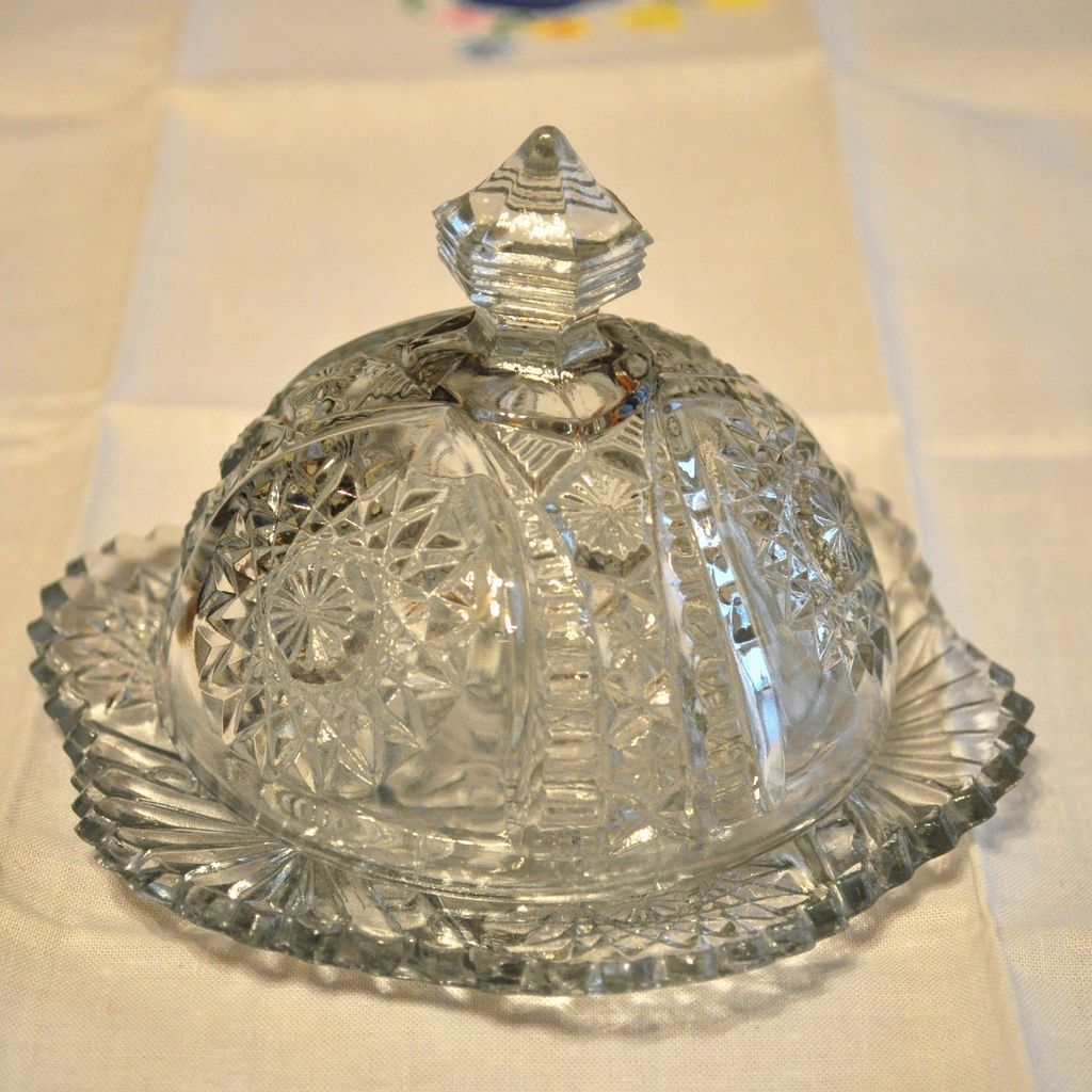 Antique butter dish crystal glassware butter dish