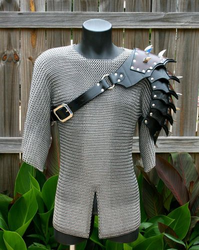 Single Leather Fancy Gothic Spaulder Armor Ren SCA articulated cosplay Gladiator
