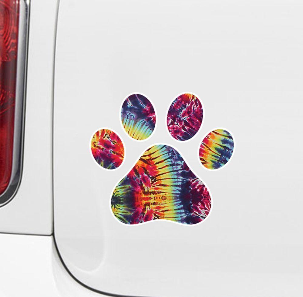 Clr Car Rainbow Tie Dye Dog Pawprint Paw Print Vinyl Car Decal Sticker 3 W X 3 H Car Decals Stickers Car Decals Vinyl Tie Dye Sticker [ 979 x 999 Pixel ]