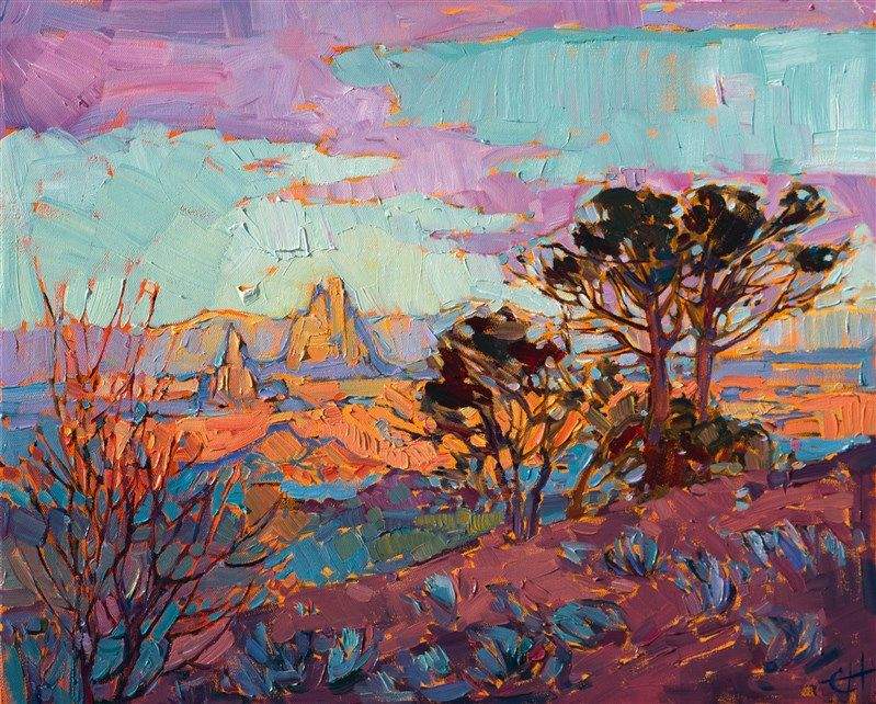 Arizona Color Contemporary Impressionism Landscape Oil Paintings For Sale By Erin Hanson Oil Painting Basics Oil Painting Landscape Landscape Art