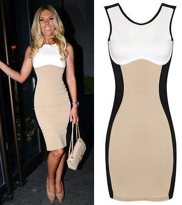 Beige Ladies Sleeveless Illusion Sexy Slim Fitted Club Dress Sz 4 6 8 10 12 14