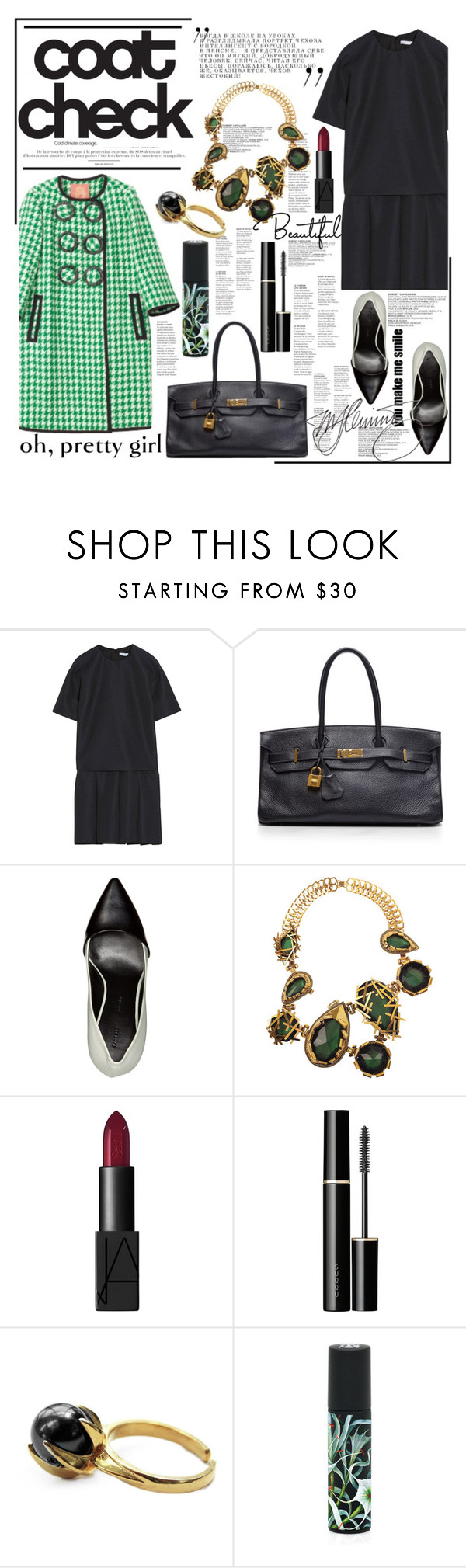 """check mate."" by mercimasada ❤ liked on Polyvore featuring Victoria, Victoria Beckham, Manoush, Hermès, Proenza Schouler, Erickson Beamon, SUQQU, ELYONA, Nest Fragrances, vintage and classic"
