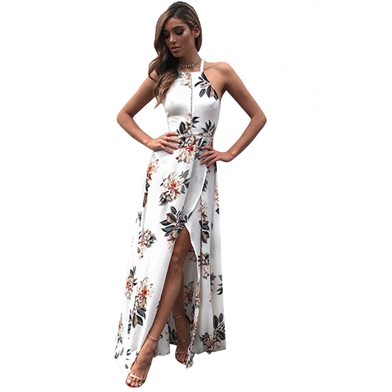 ddc220faa4a Kinikiss Women s Summer Vintage Boho Long Maxi Evening Party Beach Floral Sun  Dress at Amazon Women s Clothing store
