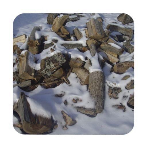 Snowy Fire Wood Coaster
