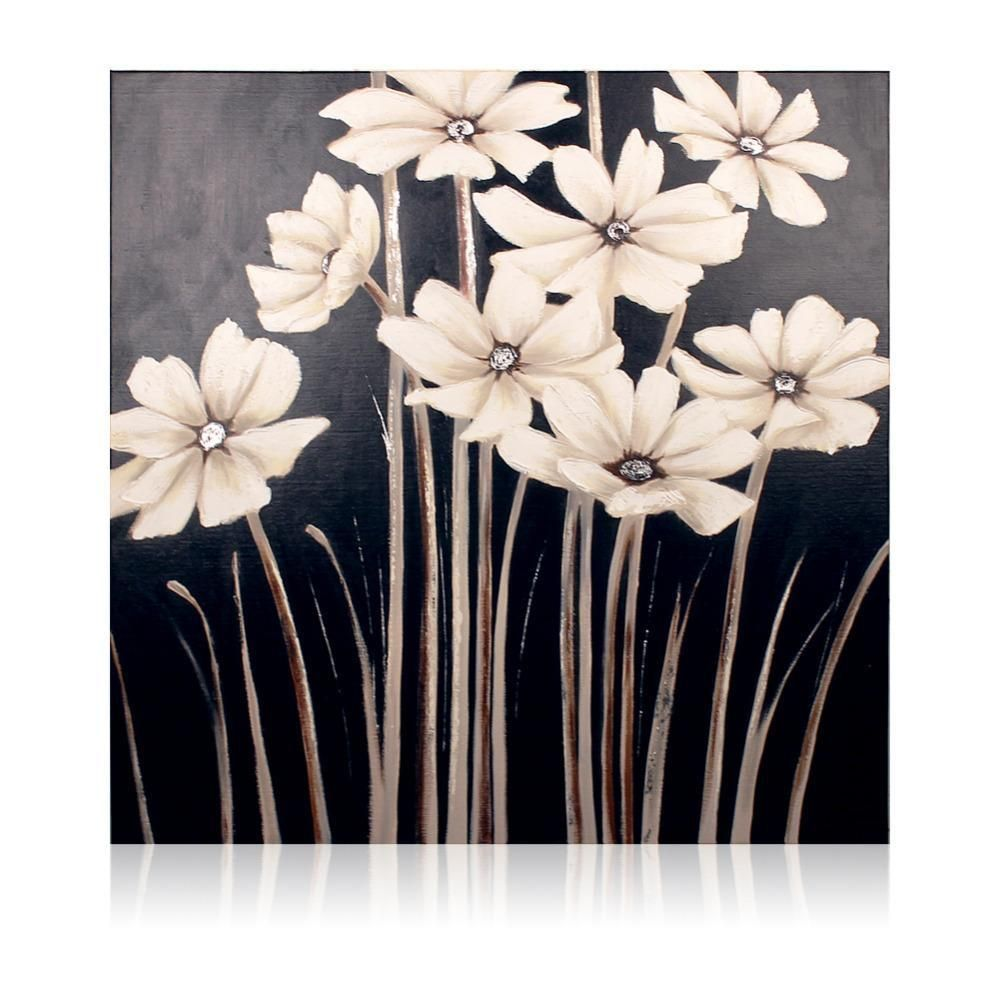 Black And White Daisies Wall Painting Paintings
