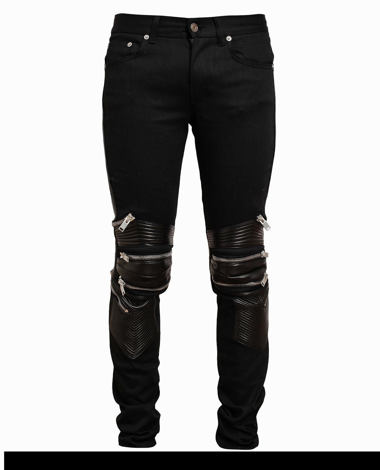 826e36c6bb7 Saint Laurent Leather Denim Biker Jeans Zip Ribbed 02C832710004 1  *DEADSTOCK* SAINT LAURENT Leather Knee Panel Zip Detailed Biker Pants  #saintlaurent# ...