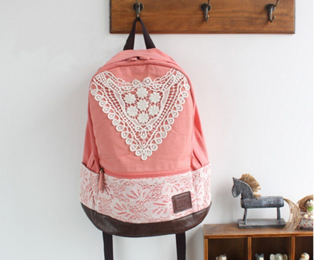 Pink Girls Canvas School Crochet La | Lace backpack, Crochet lace ...
