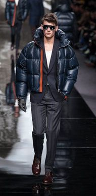 bfd863d18049 A leather puffer jacket from Louis Vuitton.