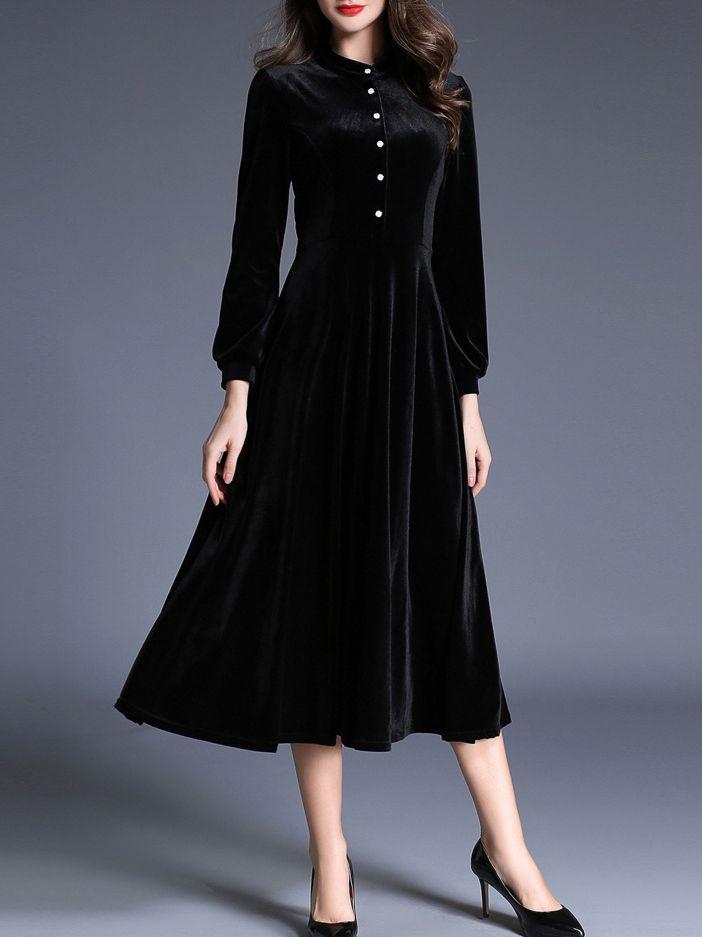 188b8d4cd3 Black Crew Neck Velvet Long Dress -SheIn(abaday)