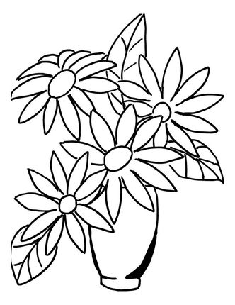 Click To See Printable Version Of Flower Bouquet In A Vase Coloring Page