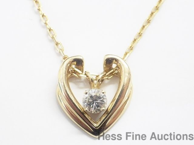 Jared Ultra Fine Diamond Heart Pendant Artist Signed 14k Gold