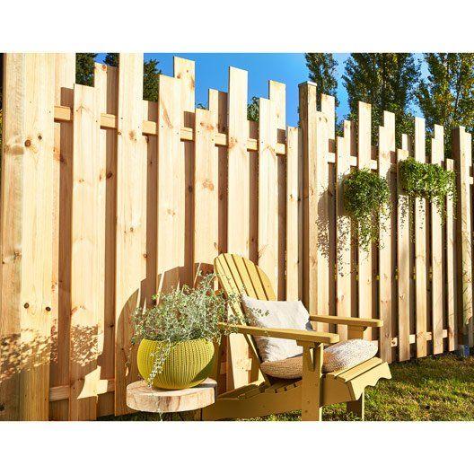Panneau Bois Plein Palissade L 180 X H 200 Cm Naturel Cloture