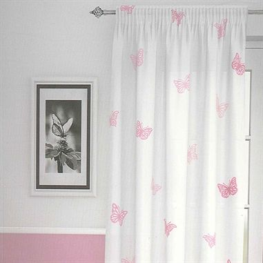 The Butterfly Pink Net Curtain Panel Has A White Background With A  Beautiful Butterfly Pattern All