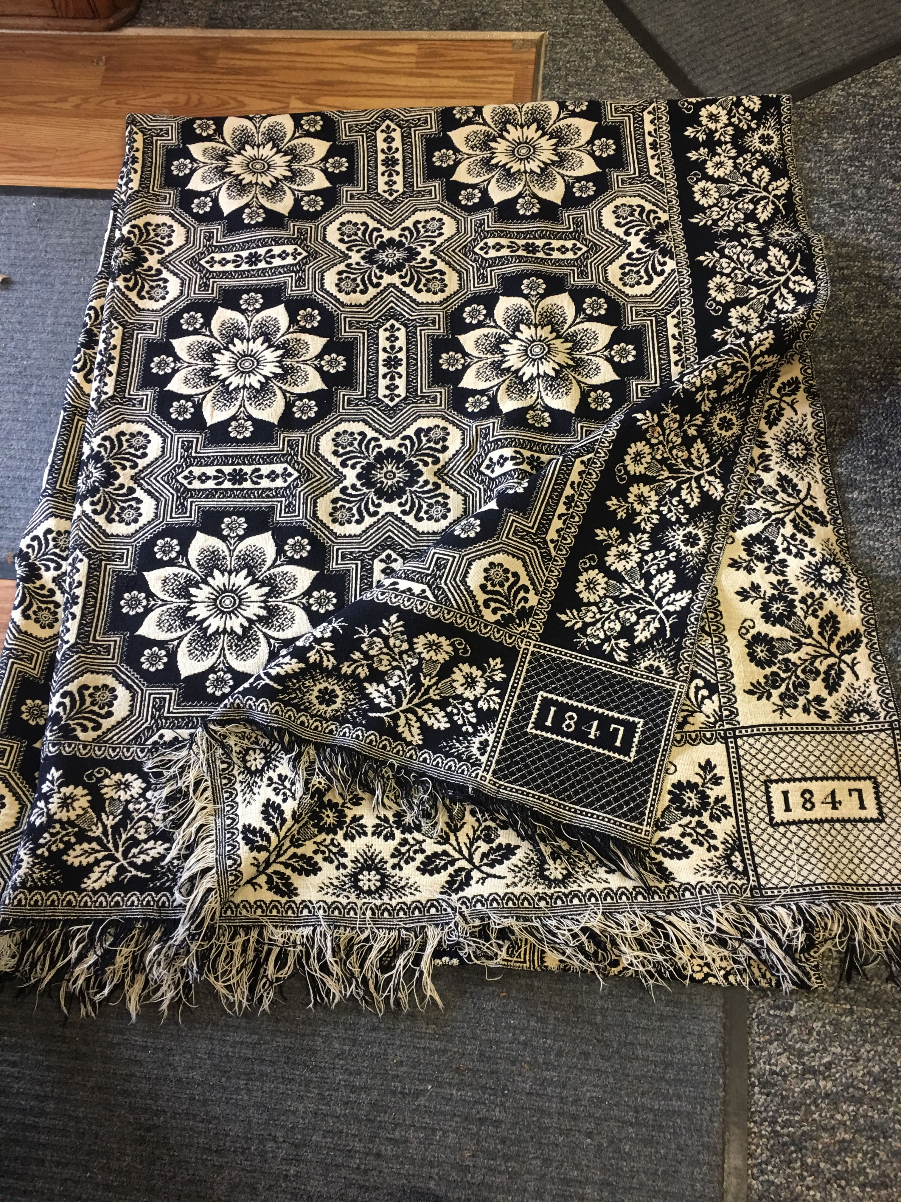 Outstanding Indiana Coverlet Dated 1847 Antique Fabrics Coverlets Quilted Coverlet