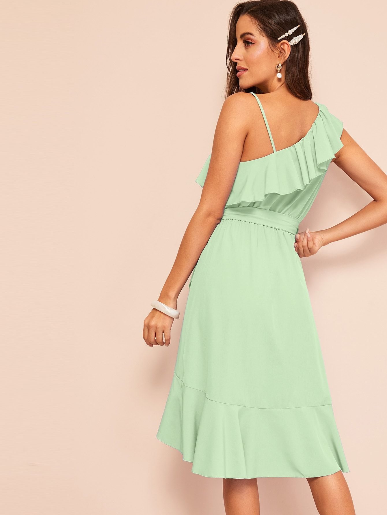 363bd02a768 Flounce Foldover Belted Dress With Wrap Skirt  Ad