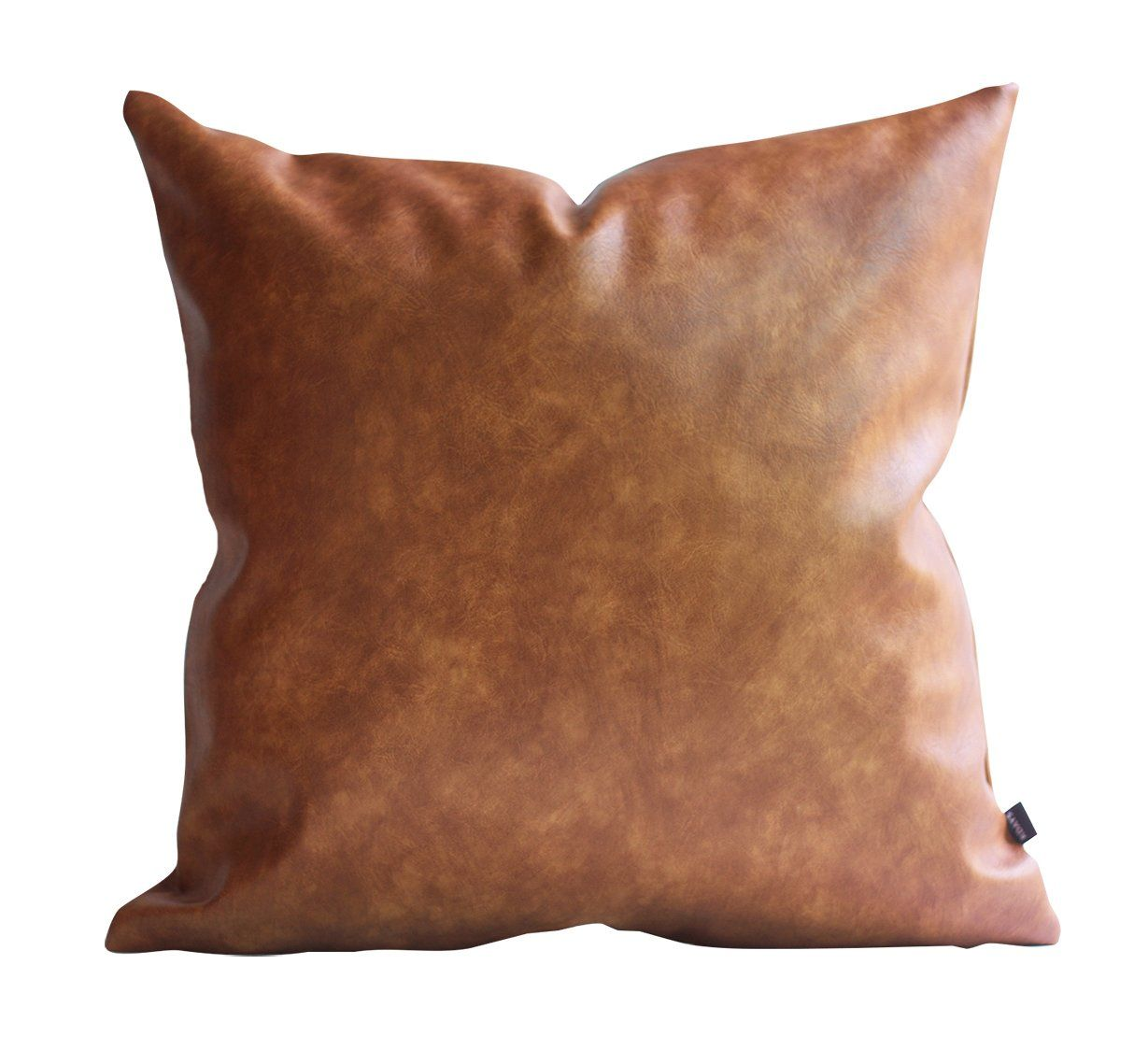 Kdays Thick Brown Faux Leather Throw Pillow Cover Cognac Leather Decorative Throw Pillow Case Farmhouse Decor In 2020 Leather Throw Pillows Leather Pillow Tan Pillows