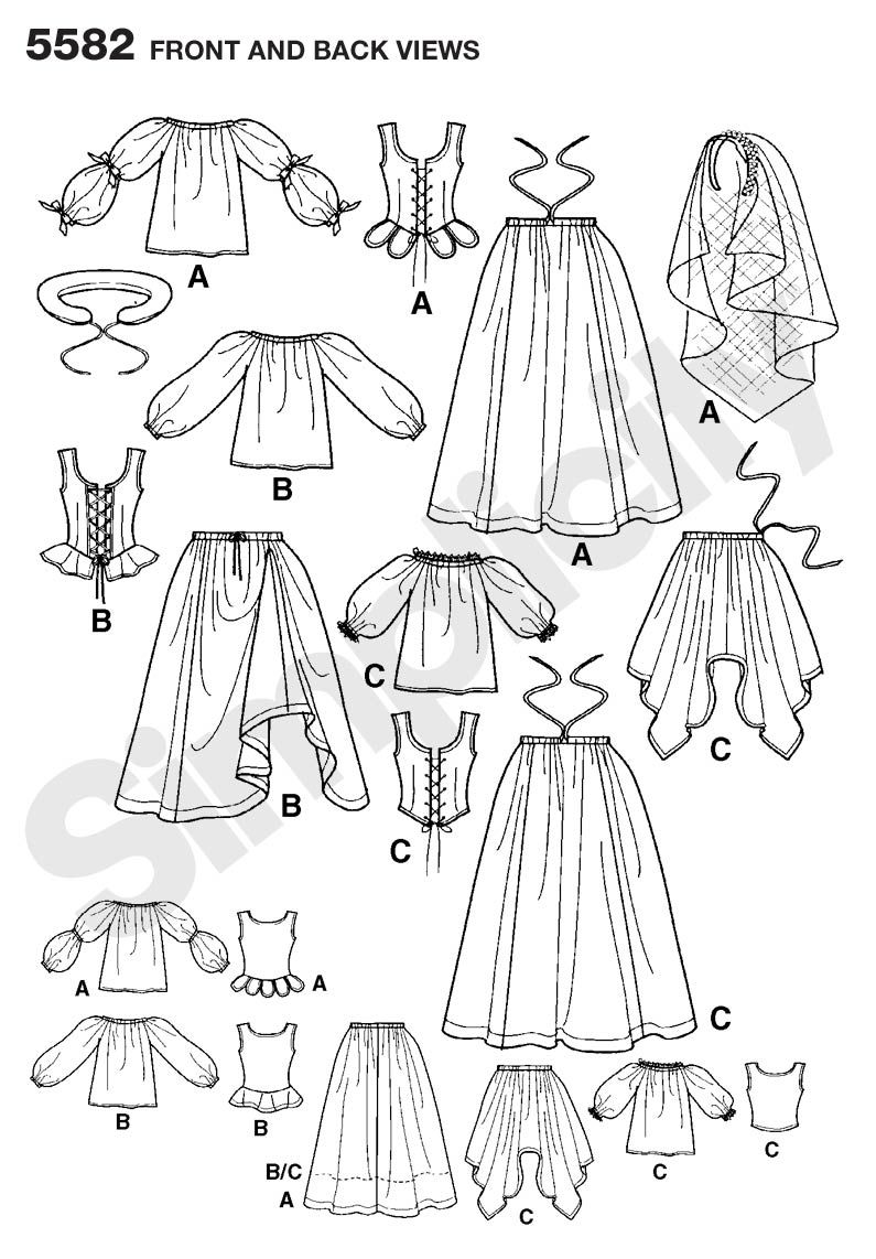 Womens Renaissance Dress Costume Sewing Pattern 5582 Simplicity ...