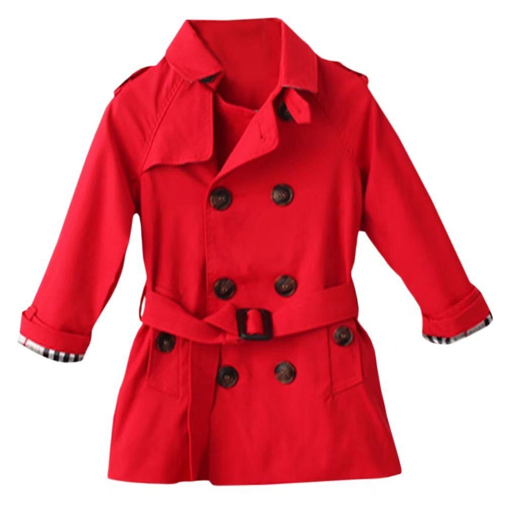 a3c9744d23d3 Little Girls Classic Chino Cotton Double Breast Belted Trench Coat ...