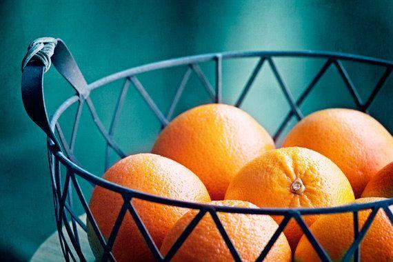 Fruit photography kitchen decor orange teal blue dark - Orange and teal decor ...