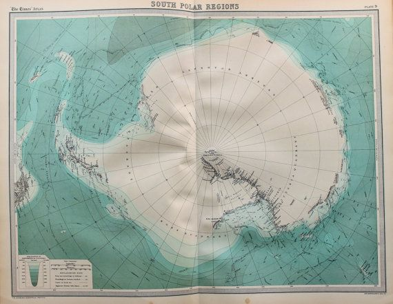 Huge 1922 Antique Map, South Pole, South Polar Regions, Antarctic ...