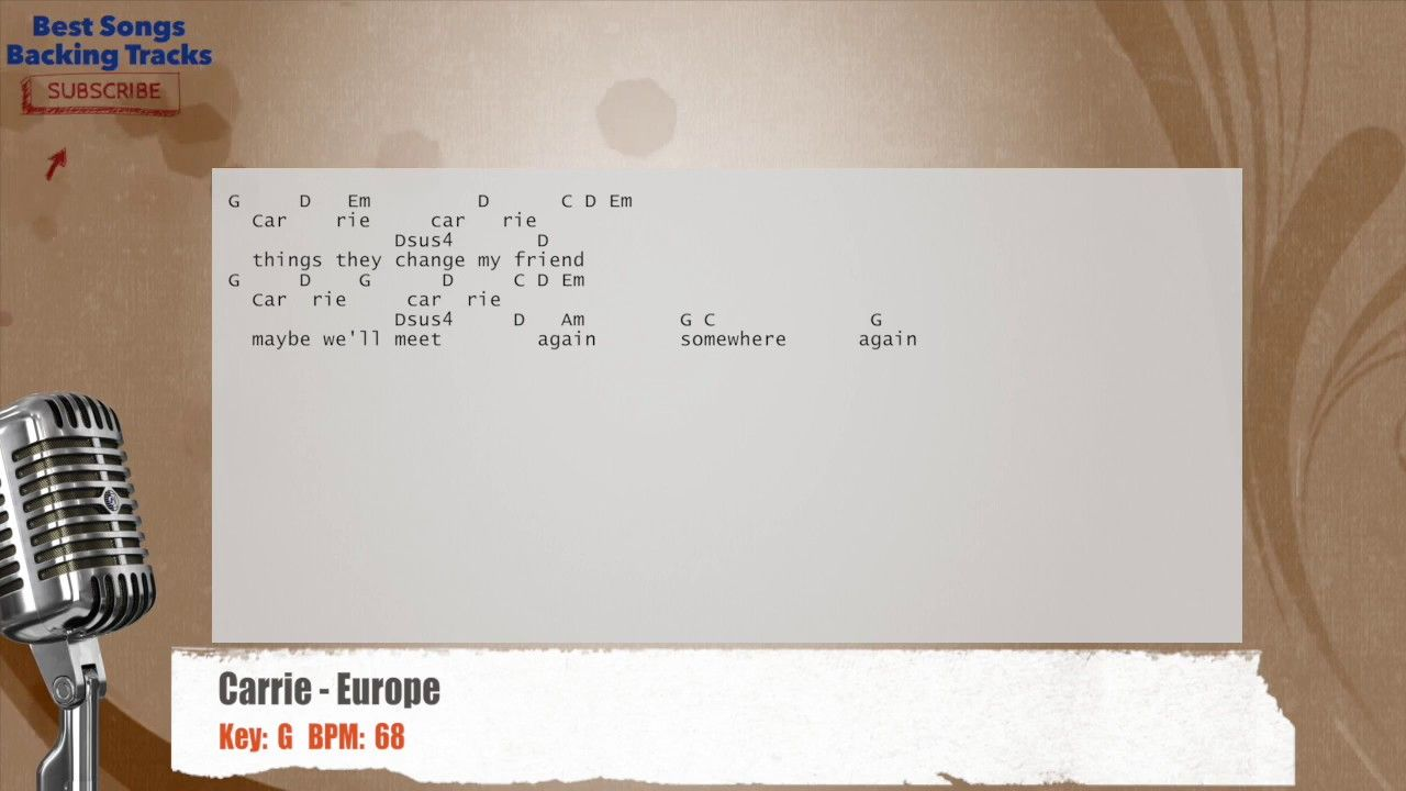 Carrie Europe Vocal Backing Track With Chords And Lyrics Con