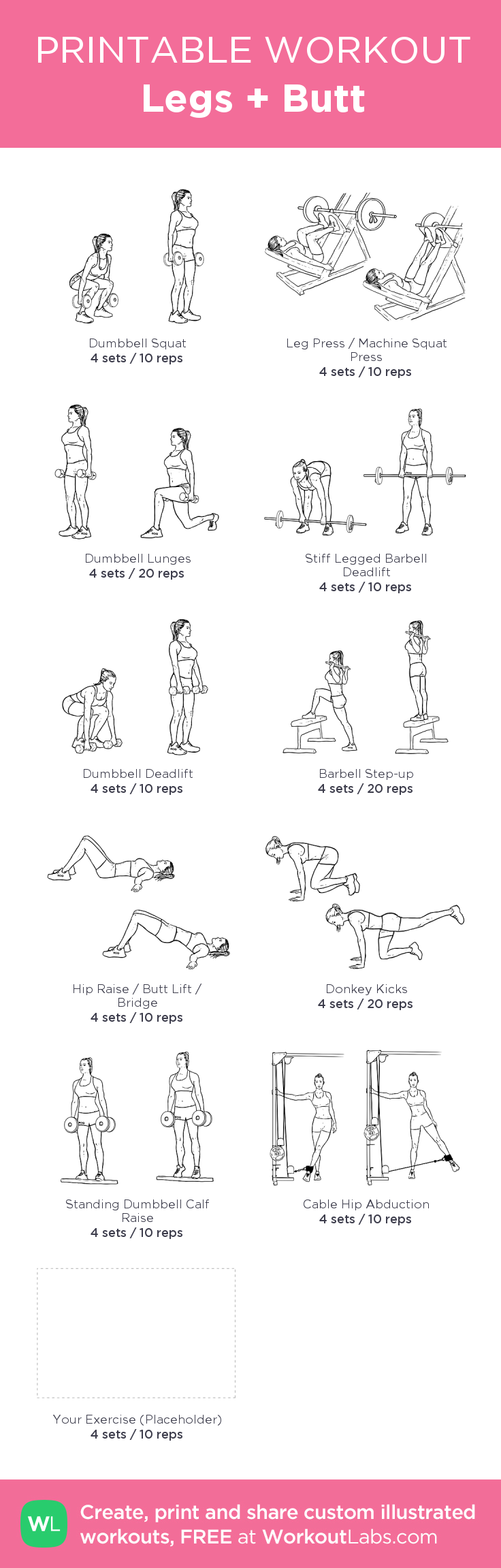 Legs + Butt:my visual workout created at WorkoutLabs.com • Click through to customize and download as a FREE PDF! #customworkout