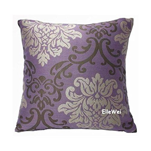 Elleweideco Modern Damask Purple Throw Pillow Cover Hidden Zipper Allows Easy Insertion Or Removal Of A Cushion Measurement 18 X Inch Made From