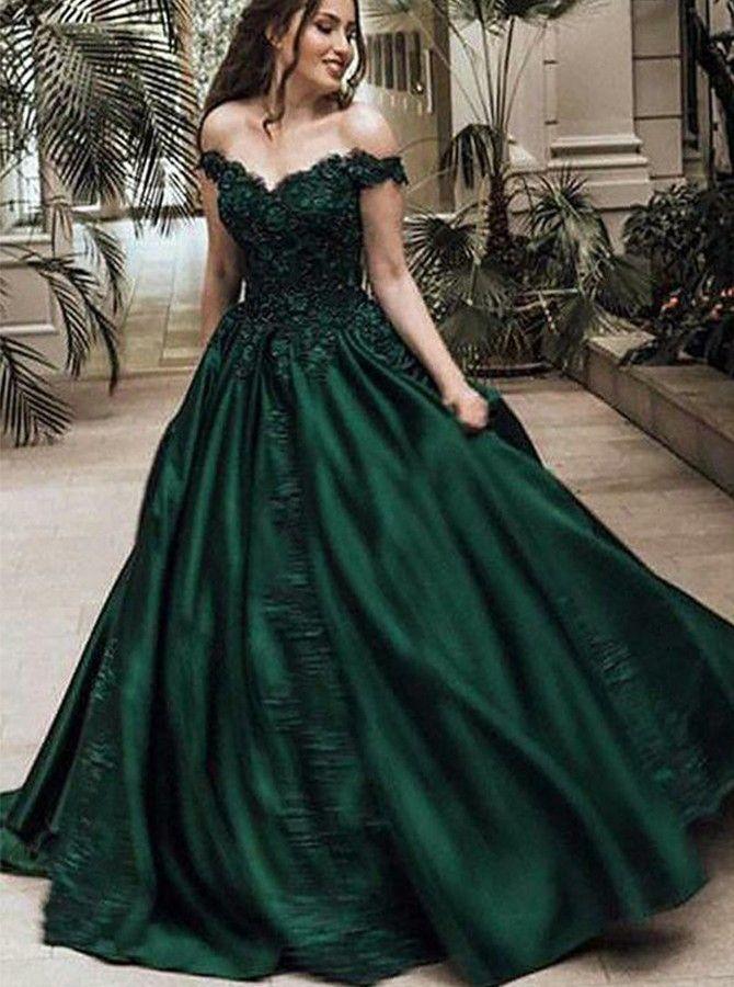 Dramatisch Lang Off Schulter Grün Ballkleid Abendkleid mit ...